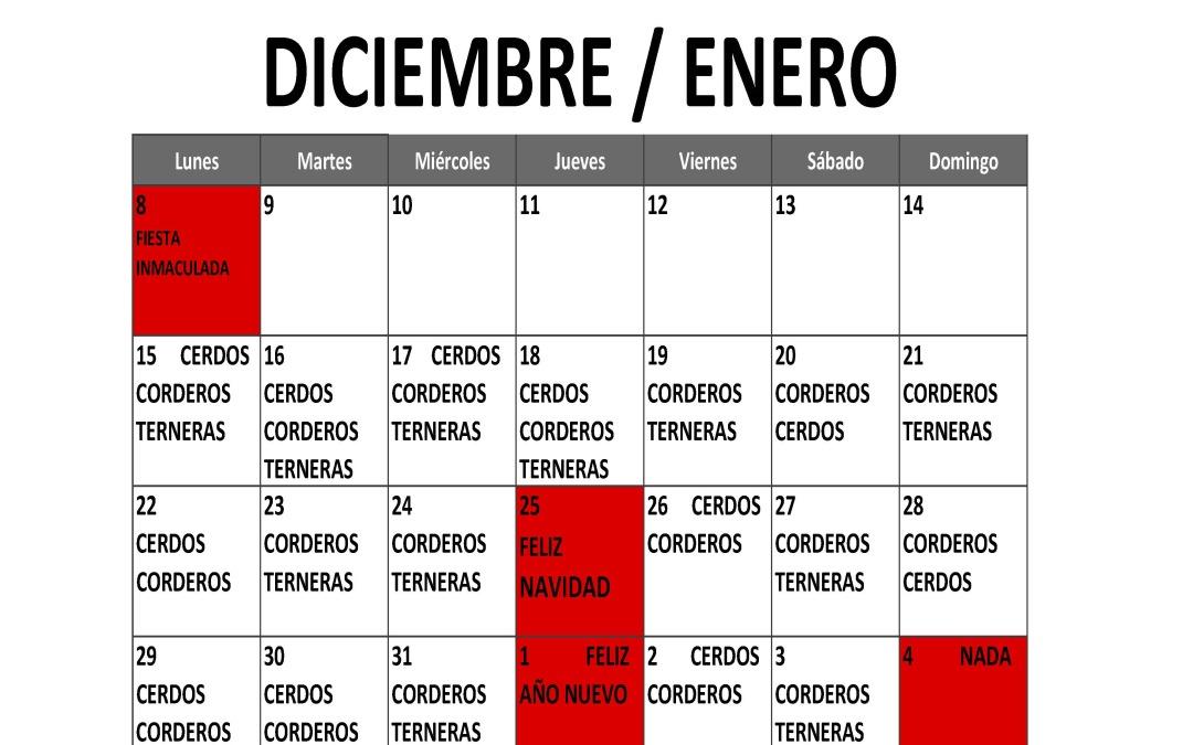 CALENDARIO SACRIFICIOS NAVIDAD 2014 / 2015