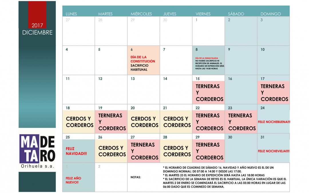 Calendario Diciembre.Calendario Diciembre 2017 Matadero Orihuela